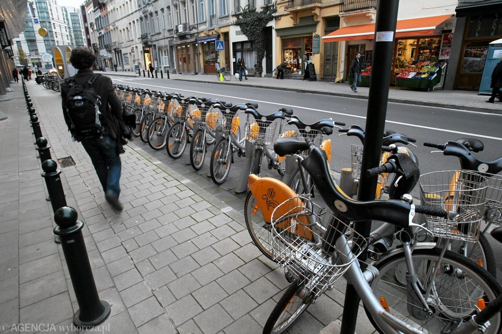 Wypożyczalnia rowerów miejskich w Brukseli