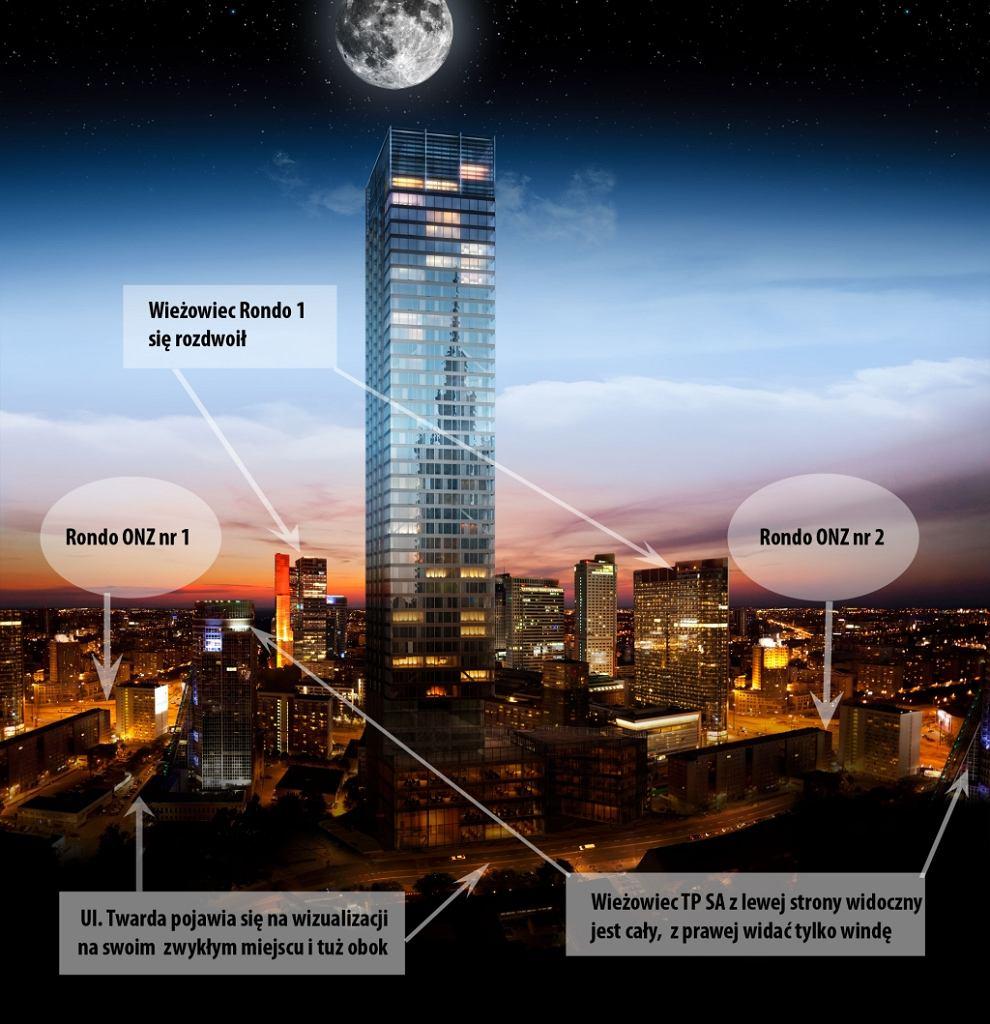 Wieżowiec Cosmopolitan. W tle