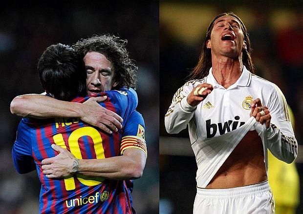 Carles Puyol ściska Leo Messiego po zdobyciu przez tego ostatniego rekordowego gola w barwach Barcelony. Z prawej: Sergio Ramos wścieka się po zmarnowaniu szansy na bramkę w meczu z Villarealem.