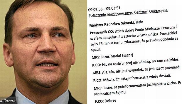 Nagrania rozmów Radosława Sikorskiego z poranka 10 kwietnia 2010 roku