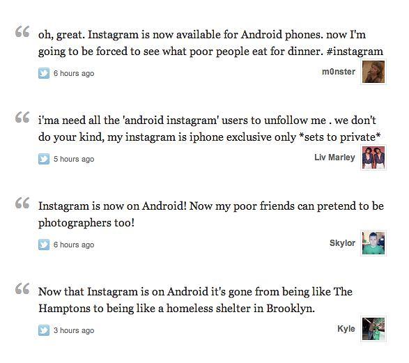 Reakcja posiadaczy iPhone'a na Instagram na Androidzie
