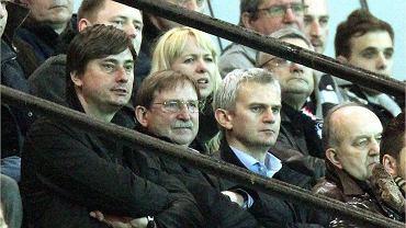 Jacek Magiera na trybunach podczas meczu Polonia - Ruch