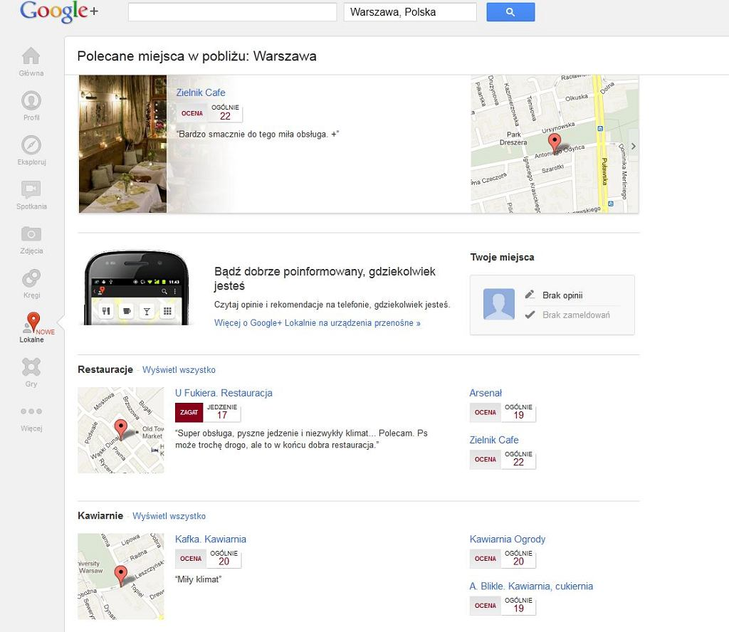 Lokalne - nowa zakładka w Google