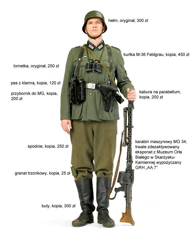 Krzysztof Zawidzki w mundurze strzelca Wehrmachtu z kampanii wrześniowej. 1944 r