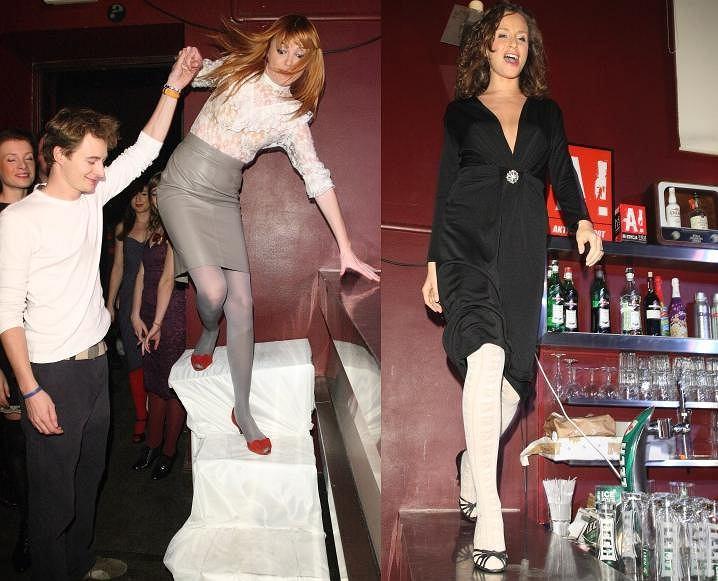 Kasia Burzyńska, Monika Mrozowska i Patrycja Kazadi wzięły wczoraj udział w pokazie mody miejskiej. Panie prezentowały kreacje stąpając po barze, co okazało się być nieco niebezpiecznym i... nieefektownym terytorium.