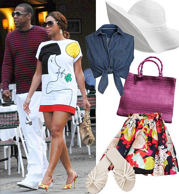 wiosna/lato 2009 H&M: bluzka 79,90 zł, torba 49,90 zł, spódnica 129 zł, buty 39,90 zł