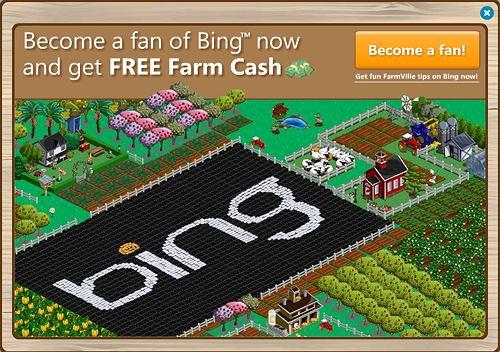 Reklama Binga na FarmVille