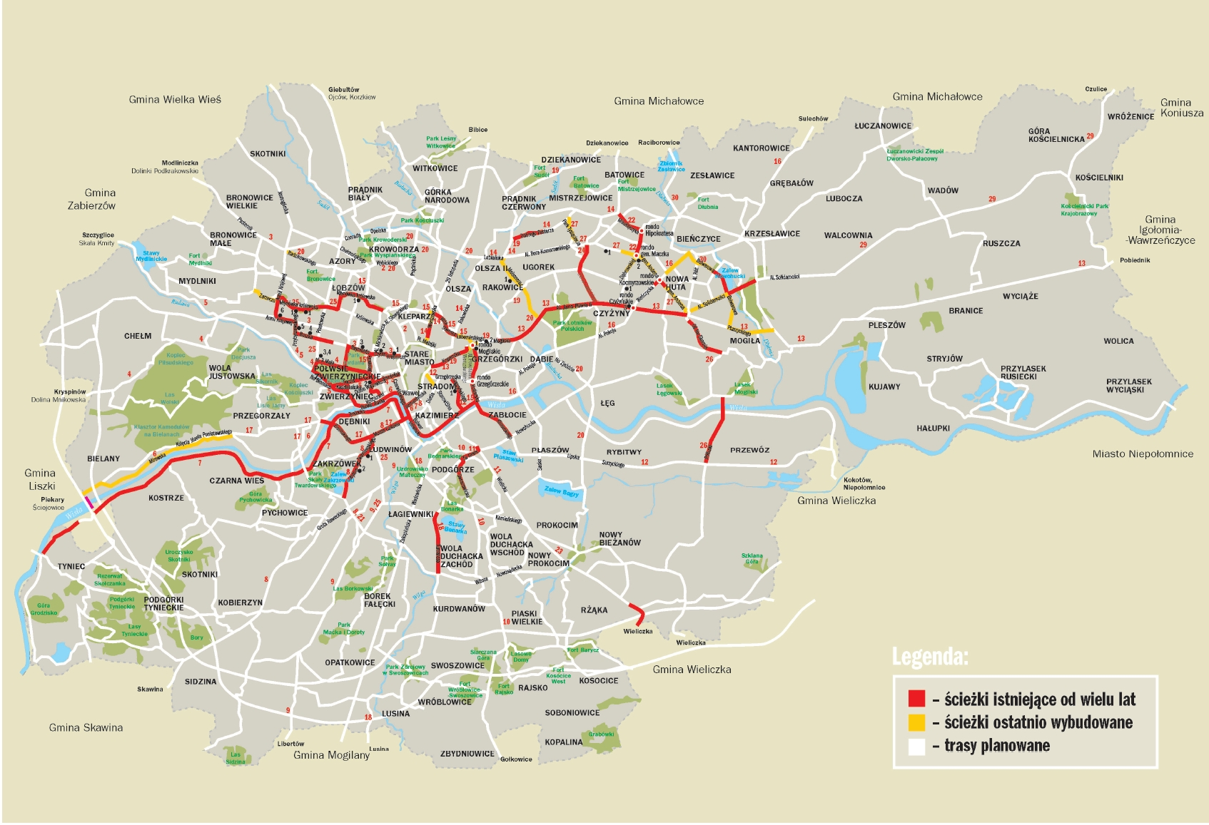 Trasy Rowerowe W Krakowie Mapa I Legenda
