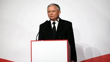 Jarosław Kaczyński w sztabie wyborczym w Hotelu Europejskim