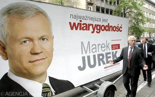 Marek Jurek podczas prezentacji hasła i plakatu swojej kampanii