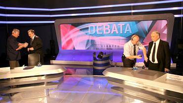Jarosław Kaczyński i Bronisław Komorowski w trakcie ostatnich przygotowań do debaty