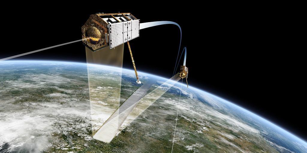 Satelity TanDEM-X i TerraSAR-X lecące w formacji.