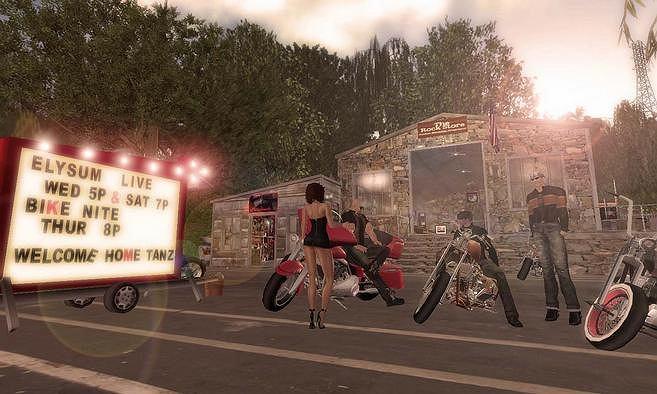 Wirtualny bar motocyklowy w Second Life.