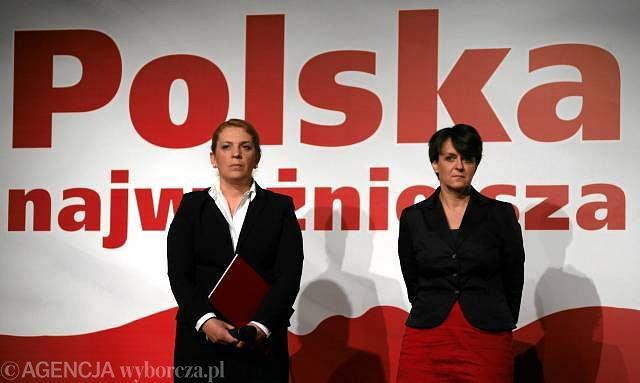 Joanna Kluzik-Rostkowska i Elżbieta Jakubiak podczas wykładu kandydata na prezydenta Jarosława Kaczyńskiego w dniu otwarcia Centrum Informacyjnego