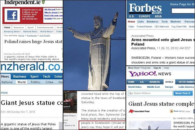 Posąg Jezusa ze Świebodzina w mediach z całego świata