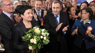Hanna Gronkiewicz-Waltz i Grzegorz Schetyna tuż po ogłoszeniu pierwszych wyników sondażowych