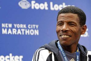 FILE - In this file photo of Friday, Nov. 5, 2010 Ethiopian runner Haile Gebrselassie speaks to reporters during a news conference for the New York City Marathon in New York. Gebrselassie says he has changed his mind about retiring and will compete again, confirming on his Twitter account Monday Nov. 15, 2010 that he will keep running. Gebrselassie had announced his sudden retirement after pulling out of the New York Marathon with a knee injury on Nov. 7.  (AP Photo/Mary Altaffer, file)