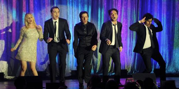 "From left, ""Big Bang Theory"" cast members Kaley Cuoco, Jim Parsons, Simon Helberg, Johnny Galecki and Kunal Nayyar perform during a tribute to Cole Porter at the 19th annual ""A Night at Sardi's"" fundraiser benefitting the Alzheimer's Association, Wednesday, March 16, 2011. (AP Photo)"