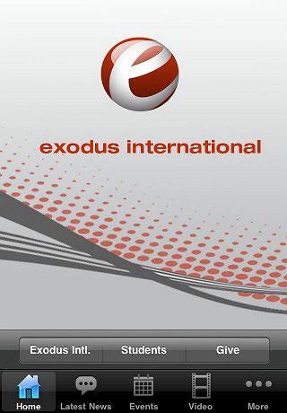 Zrzut ekranu z iPhone'owej aplikacji Exodus International.