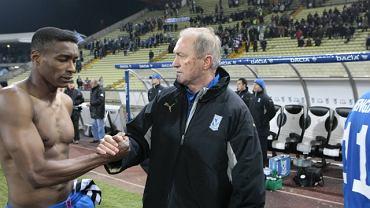 Rok 2009. Franciszek Smuda i Manuel Arboleda po meczu Lecha Poznań w Udine w Pucharze UEFA