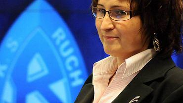 Katarzyna Sobstyl podczas giełdowego debiutu Ruchu (2008)