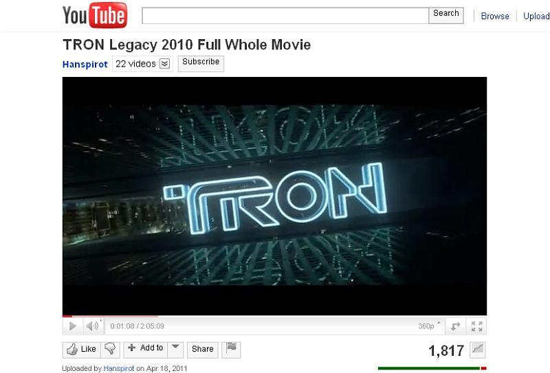 Tron na YouTube