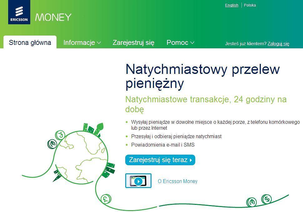Strona główna serwisu Ericsson Money.