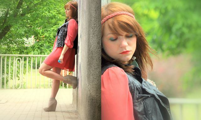 Sukienka - New Look, Kamizelka - Bershka, Koturny - Sequin, Torebka - Reserved, Opaska - Reserved, Biżuteria - ( H&M, Japan Style)