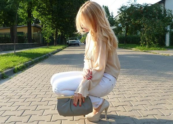 bluzka - vintage, spodnie - h&m, buty - allegro, kopertówka - vintage