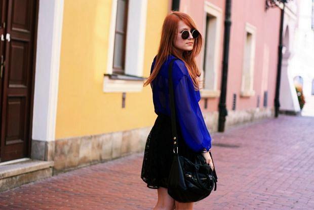 bluzka - second hand, spódnica - vintage, buty - stylowebutki.pl, okulary - h&m, torba - h&m