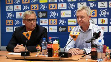 Mirosław Smyła, nowy trener Korony Kielce i prezes klubu Krzysztof Zając