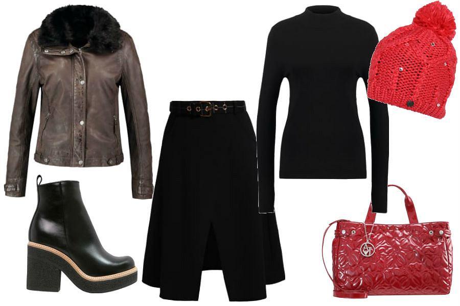 fot. materiały partnera, czerwona czapka, czarna spódnica, golf