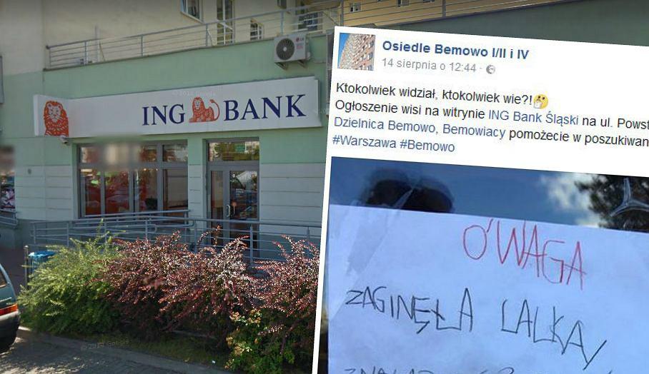 Ogłoszenie i placówka banku ING przy ul. Powstańców Śląskich