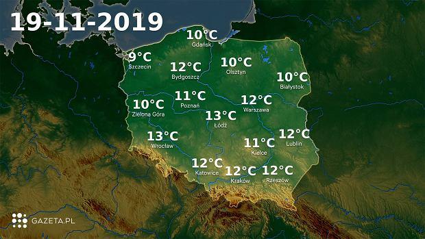 Pogoda na dziś - wtorek 19 listopada.