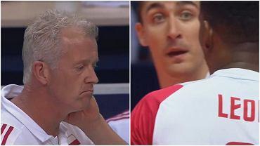 Heynen, Kaczmarek i Leon podczas meczu Polska-Belgia