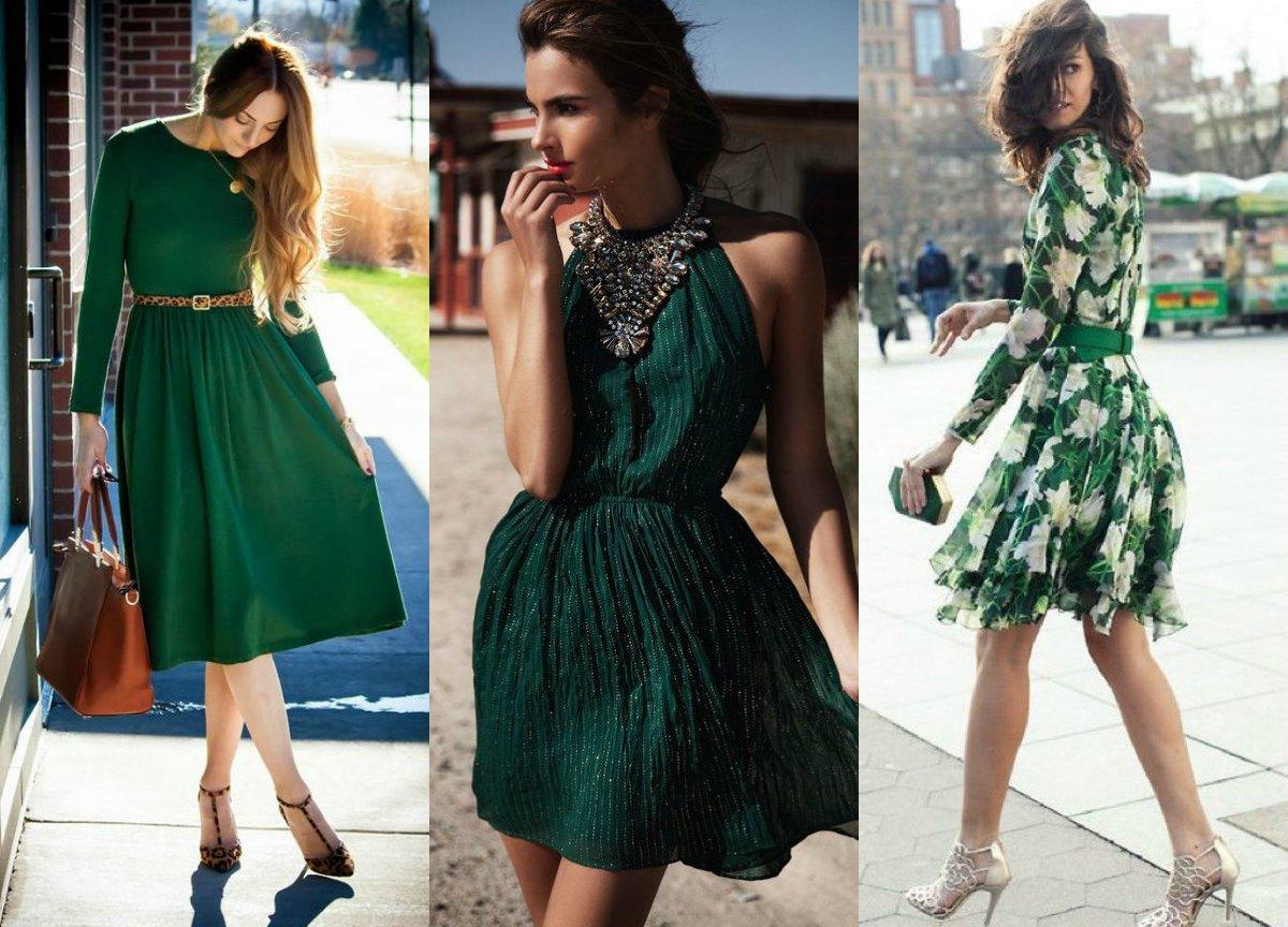 Sukienka W Kolorze Butelkowej Zieleni Gotowe Stylizacje