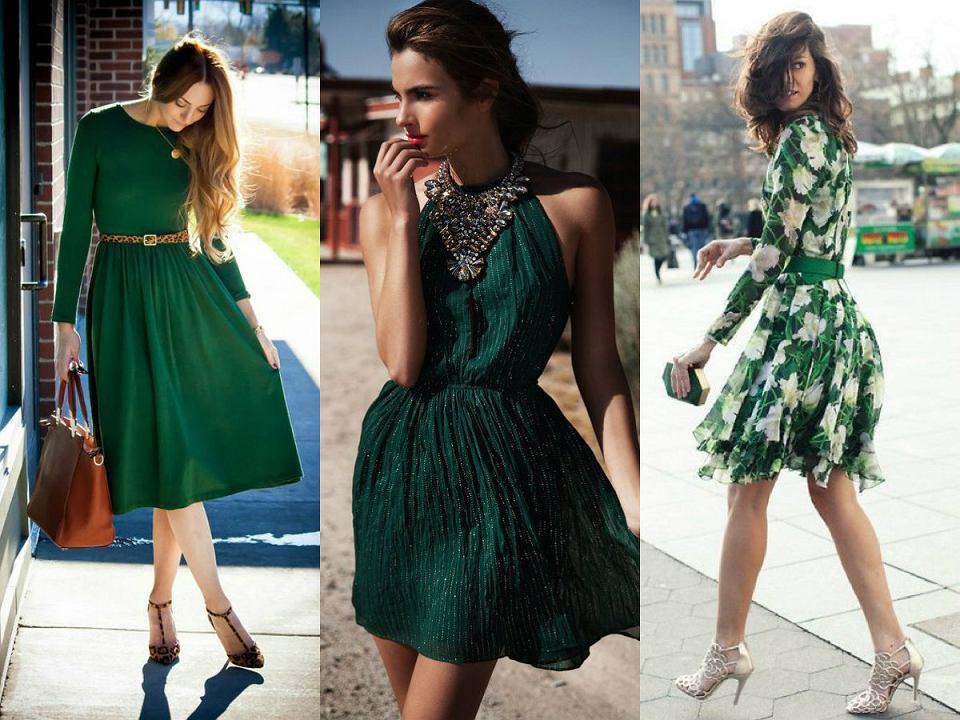 Sukienka w kolorze butelkowej zieleni