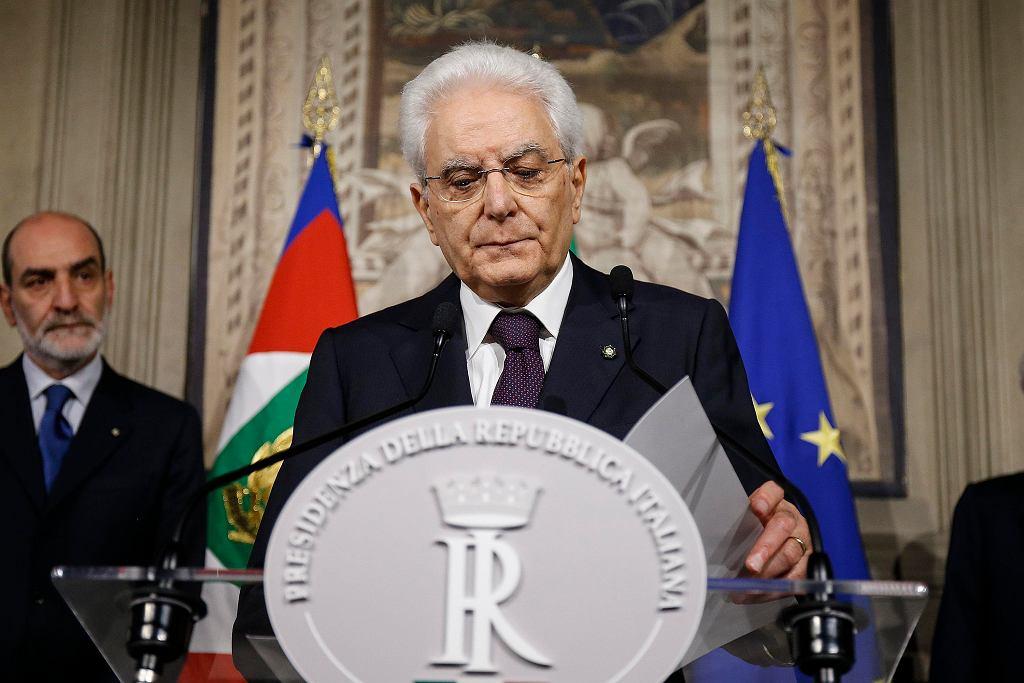 27.05.2018, Rzym, prezydent Włoch Sergio Mattarella po spotkaniu z desygnowanym na premiera Giuseppe Conte.