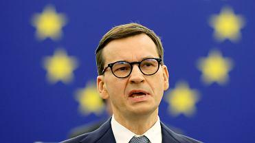 Premier Mateusz Morawiecki podczas debaty w Europarlamencie, 19.10.2021 r.