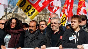 19.03.2019, Paryż, demonstracja związkowców podczas ogólnonarodowego dnia strajku. Na zdjęciu przywódcy największych francuskich central związkowych.