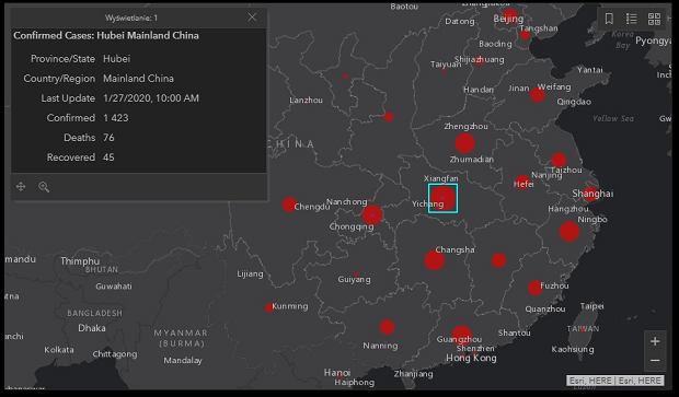 Koronawirus - mapa - Chiny