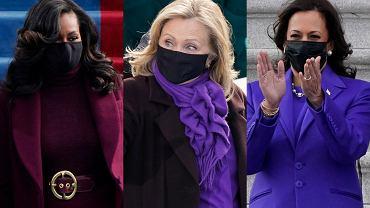 Michelle Obama, Hillary Clinton i Kamala Harris w fioletowych strojach na zaprzysiężeniu Bidena. Wybrały je nie bez powodu