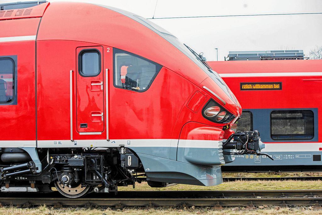 Spalinowe pociągi 'Link' wyprodukowane przez zakłady Pesa dla Detsche Bahn. Bydgoszcz, 8 marca 2018