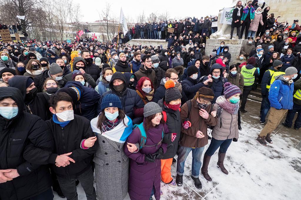 31.01.2021, Sankt Petersburg, protesty po aresztowaniu Aleksieja Nawalnego