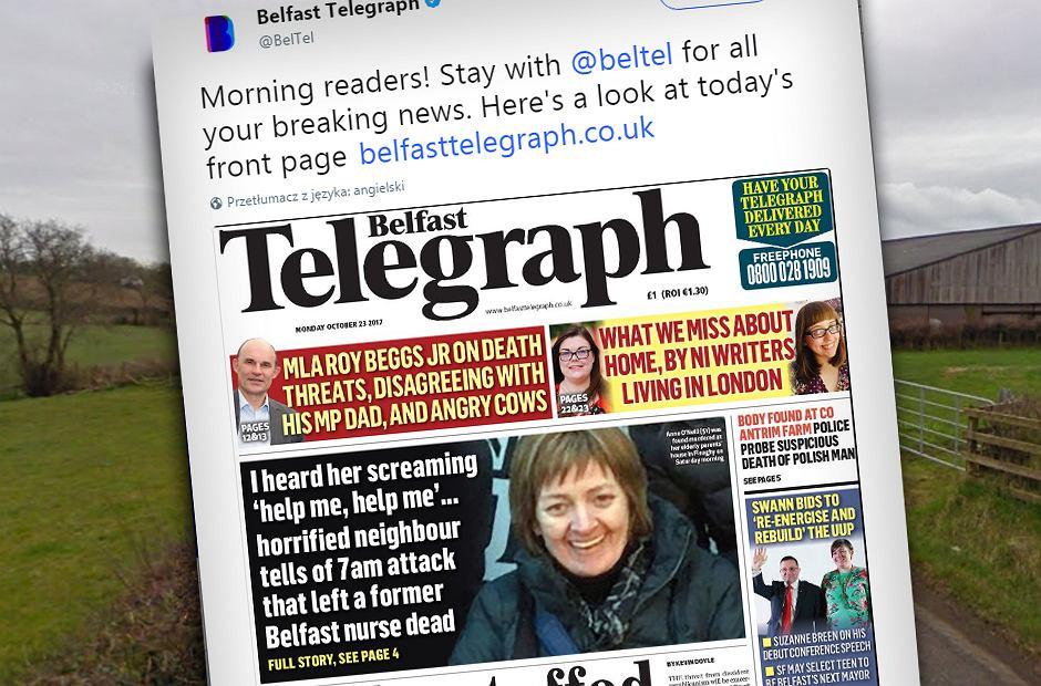 Pierwsza strona The Belfast Telegraph