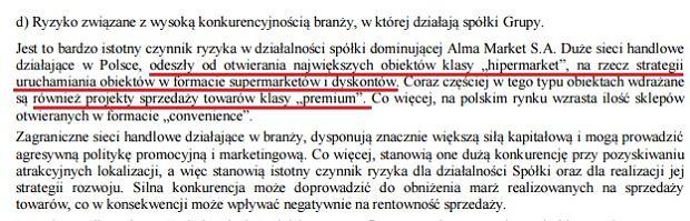 Fragment sprawozdania finansowego Alma Market