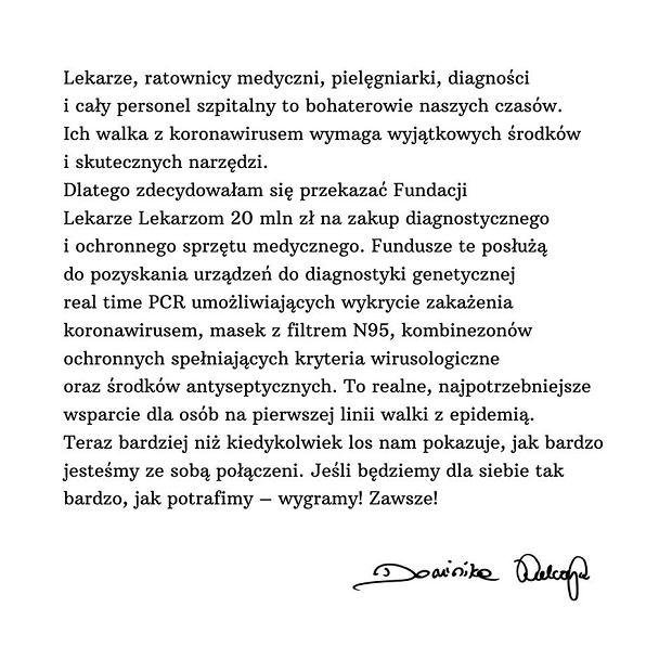 List Dominiki Kulczyk opublikowany na jej koncie na Facebooku