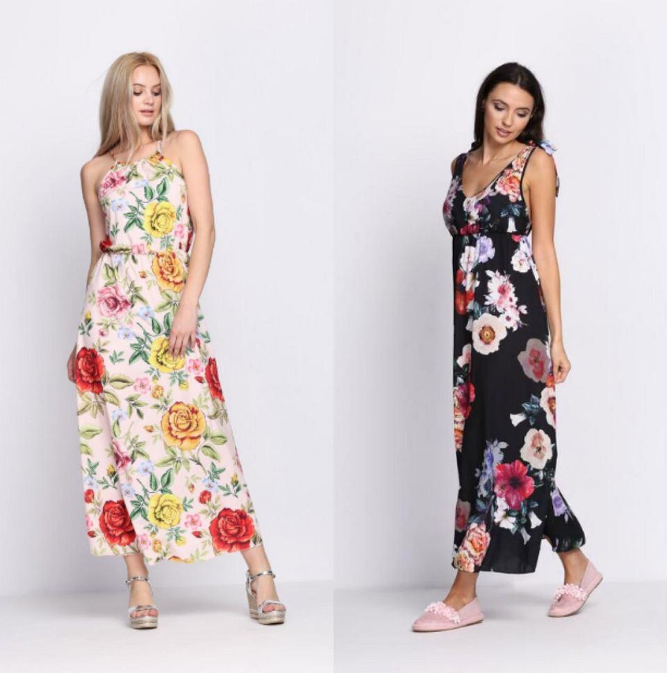 Długie, letnie sukienki w modne, kwiatowe wzory