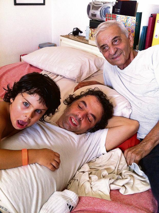Etgar Keret z ojcem Efraimem i synem Levim