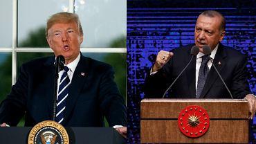 Sytuację gospodarczą Turcji pogarsza spór dyplomatyczny z USA. Fot. prezydenci Donald Trump i Recep Tayyip Erdogan